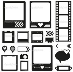 Vector silhouette scrapbook elements photo frame, ribbon, arrow and tag collection for you design or scrapbooking Journal Stickers, Journal Cards, Planner Stickers, Scrapbook Sketches, Scrapbook Albums, Diy Paper, Paper Crafts, Paper Toys, Printable Stickers