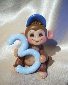 *PORCELAIN CLAY ~ monkey birthday cake topper Christmas ornament  children 3 polymer clay