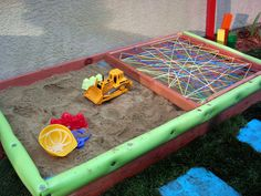 OMG! using pool noodles for the edges of the sandbox is a genius idea.