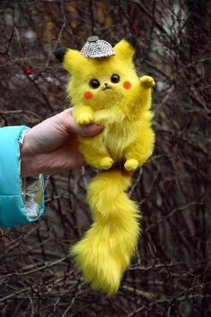Pikachu Detective, Fantasy creatures & pets toys from faux fur and polymer clay, Mystical Stuffed Animals toys for home decorations Cute Small Animals, Baby Animals Super Cute, Cute Funny Animals, Cute Cats, Pikachu Cat, Cute Pikachu, Pikachu Drawing, Really Cute Puppies, Cute Dogs And Puppies