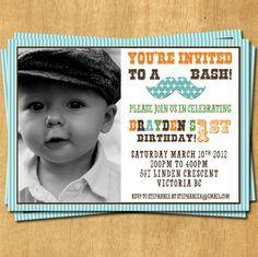 Mustache Little Man Birthday Party Invitation.