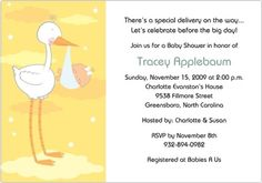"Baby Shower Invitations: "" #Stork #Delivery"" features a happy stork carrying a polka-dotted sling carrying a sleeping baby. In the background are stars and fluffy ..."