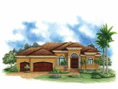 Eplans Mediterranean-Modern House Plan - Narrow Waterfront Mediterranean Home - 2400 Square Feet and 4 Bedrooms from Eplans - House Plan Code HWEPL68764