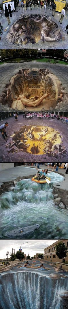 3D amazing chalk street art.I love this art.