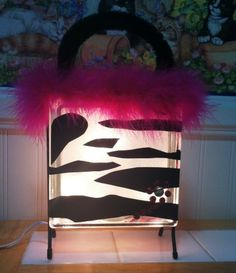 Pink Zebra Glass Block Purse by:-Creative Glass By Becky