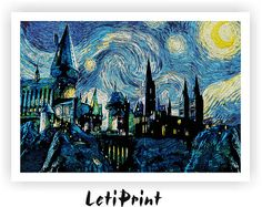 Hogwarts Starry Night Print Print Harry Potter von LetiPrint