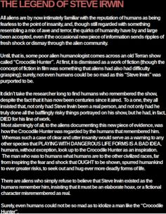Humans Are Weird / Space Australia Steve Irwin