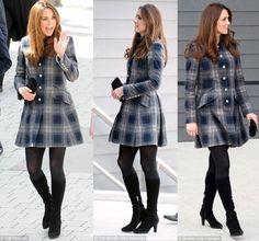 Style Guide CT: Kate Middleton, Duchess of Cambridge, in Tartan Moloh Coat in Glasgow