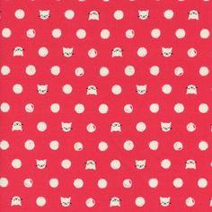 COTTON AND STEEL Collection Catlady coton rose fraise imprimé têtes de chats