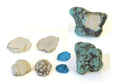 Broken (and cut) magnesite nuggets showing both natural and dyed versions.