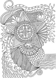 Coloring for adults:ZENTANGLES ️More Pins Like This At FOSTERGINGER @ Pinterest♓️