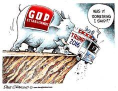 """GOP (Grand Old Party) : surnom du Parti Républicain dont l'emblème est l'éléphant... Jetant son candidat le mieux placé, pour la prochaine présidentielle, dans un ravin... Et, Donald Trump de s'exclamer : """"Mais, qu'est-ce que j'ai dit ?..."""""""