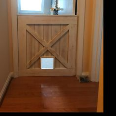 Rustic Barn Door Style Baby/ Pet gate w/special Fairy Door or Cat Door Barn Door Baby Gate, Barn Door Decor, Pet Gate, Diy Barn Door, Baby Door, Baby Gates, Dog Gates, Pallet Barn, Diy Recycling