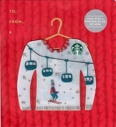 """Ski Lift Mini Starbucks Card - Released in North America on November 10th, 2016 and exclusive to the Christmas Starbucks Card display.   This is one of six mini Starbucks Cards made for the 2016 holiday season. The """"Ugly Sweater"""" series is made up of three designs. These are NOT key-chain Cards, but just smaller wallet Cards."""