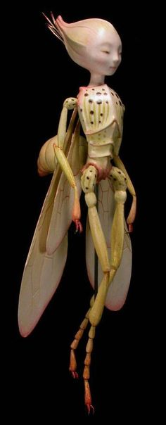 insect lady doll figure - by David Goodfellow - made of paperclay over a wire armature - 8 inches tall