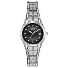 Ladies' Citizen Eco-Drive™ Stainless Steel Watch with Black Dial (Model: EW1410-50E)