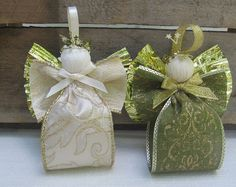 Fabric Ribbon Angel Ornaments / Gold Trimmed Angel / Tree Ornament / Beige or Green Angel / Victorian Angel Decor / Holiday Angel