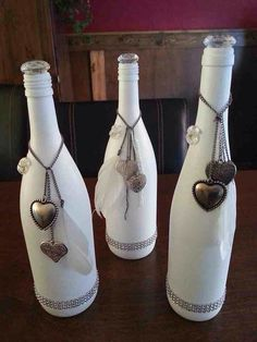 painted wine bottle upcycle
