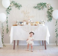 First birthday for the girly girl   floral theme 1st birthday party #Regram via @mrs.galloway #firstbirthday #cakesmash #babygirl