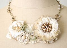 Textile Fabric Necklace, Tidepool Garden Floral Necklace in Natural Whites, Beach Wedding, Statement Necklace. $86.00, via Etsy.