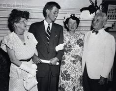 Lieutenant John F. Kennedy stands with his mother, Rose, and her parents, Mr. Joseph 'Honey Fitz' Fitzgerald (former Mayor of Boston) and his wife Mary Josephine Hannon-Fitzgerald, after a speech at Faneuil Hall in downtown Boston ~ 5 July 1946