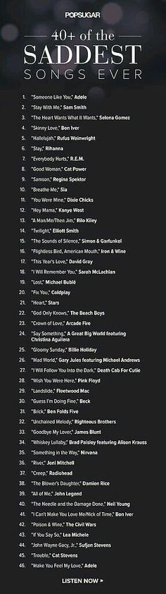 40 Sad Songs that will actually make you feel better music sad list songs playlist sad songs song list suddenly all the love songs 40 Sad Songs that will actually make you feel better Music Lyrics, Music Quotes, Music Songs, My Music, Song Quotes, Reggae Music, Hat Quotes, Sad Song Lyrics, Music Memes