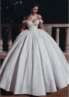 Marvelous Tulle & Satin Off-the-shoulder Neckline Ball Gown Wedding Dresses With Beadings & Handmade Flowers & Flowers NEW! Marvelous Tulle & Satin Off-the-shoulder Neckline Ball Gown Wedding Dresses With Beadings & Handmade Flowers & Flowers Ballroom Wedding Dresses, Western Wedding Dresses, Princess Wedding Dresses, Elegant Wedding Dress, White Wedding Dresses, Wedding Gowns, Elegant Dresses, Modest Wedding, Tulle Wedding