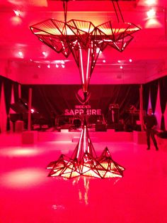 TRIO manufactured metal sculpture, printed graphics, and lighting at Beck's Sapphire Launch event in New York