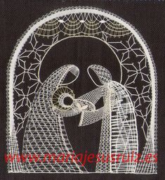 Trabajos propios Bobbin Lace Patterns, Lacemaking, Lace Heart, Lace Jewelry, Silhouette, Lace Detail, Cross Stitch, Butterfly, Christmas