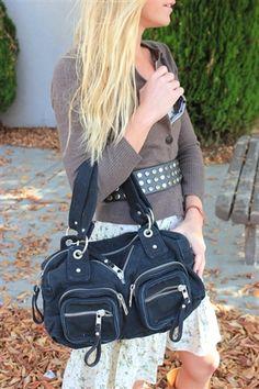 Black Canvas Zipper Bag $31.02