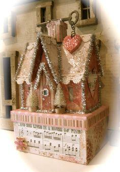 Handmade putz house put it on a decorated mod podge box Pink Christmas, All Things Christmas, Christmas Home, Vintage Christmas, Christmas Holidays, Christmas Decorations, Christmas Ornaments, Xmas, Handmade Christmas