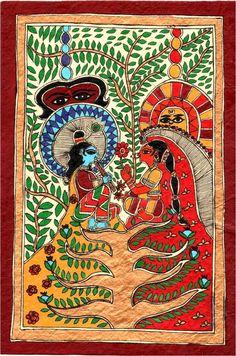 "CrazyLassi's Madhubani Art Practice and Research Blog: ""Radha-Krishna"" Madhubani Painting Step-by-Step"