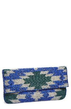 This metallic blue and silver beaded clutch is perfect for finishing off a date night outfit.