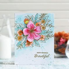 Watercolour card, Hello lovely, Concord and Watercolor Cards, Watercolor Flowers, Watercolour Art, Card Making Inspiration, Making Ideas, Handmade Card Making, Handmade Cards, Happy Birthday Beautiful, Concord And 9th