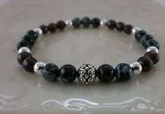 Snowflake Obsidian with Garnet. Cuff by MECODesignsJewelry on Etsy