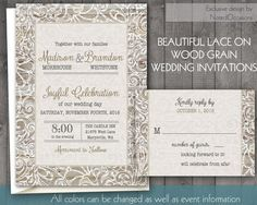 Rustic Wedding Invitations - Lace Border on wood grain for Country, Rustic and Outdoor weddings- DIY Wedding Invitations printable file by NotedOccasions, $45.00