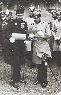Berlin, König George V und der Gastgeber in Berlin, 1913.