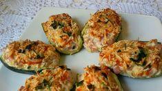 Calabacines rellenos de jamón y queso light