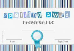 Spelling Certificates