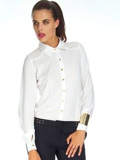 WHITE STUDDED SAHARA SHIRT