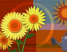 Paper Sunflower Abstract PSD Background - http://www.dawnbrushes.com/paper-sunflower-abstract-psd-background/
