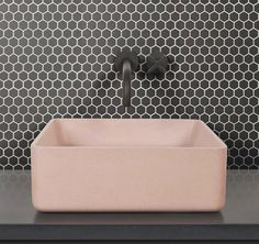 Keeping it compact, Mono Hex tiles have a small mosaic design that can really add a luxe look to bathrooms. Wash basin by Bathroom Splashback, Bathroom Basin, Small Bathroom, Bathroom Ideas, Family Bathroom, Bathroom Inspiration, Concrete Look Tile, Concrete Basin, Wall And Floor Tiles
