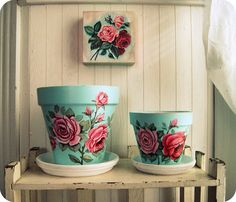 Gorgeous handmade  vintage inspired flower pots.