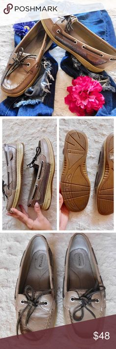 Sperry Top-Sider Angelfish Boat Shoes In excellent-used condition. Very little show of wear, please refer to the photos. Size 8.5, leather upper/man-made sole. Super comfortable and cute shoes! Smoke/pet free home. Ask all questions before buying. NO trades ❌🙅🏻 Bundle for a discount 🎉 •jeans NFS• Sperry Top-Sider Shoes Flats & Loafers