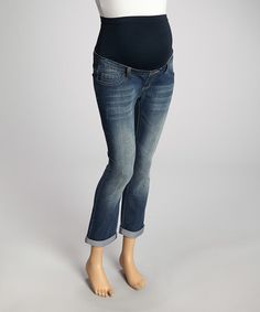 This Medium Wash Over-Belly Maternity Capri Jeans - Women by Bella Vida Jeans is perfect! #zulilyfinds