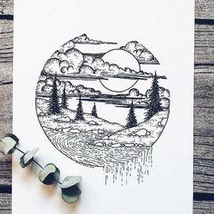 More of my art! Cool Art Drawings, Pencil Art Drawings, Art Drawings Sketches, Easy Drawings, Circle Drawing, River Drawing, Stippling Art, Bullet Journal Art, Black And White Drawing