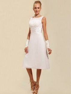White A-line/Princess rmlös Rems Tea-length Satäng Wedding Dresses för 3500kr