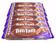 Arnott's Tim Tam is composed of two layers of chocolate malted biscuit, separated by a light chocolate cream filling, and coated in a thin layer of textured chocolate. It's this unique cream which sets Tim Tam apart from any other chocolate biscuit. Arnotts Biscuits, Tim Tam, Cream Biscuits, Chocolate Biscuits, Chocolate Coating, Types Of Food, Good Food, Sweets, Candy