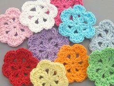 20 Handmade Crochet Flower Appliques... 1.5 inch... 10 by twpmango