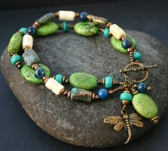 Green Dragonfly Bracelet 7.75 Inches by InspiredTheory on Etsy